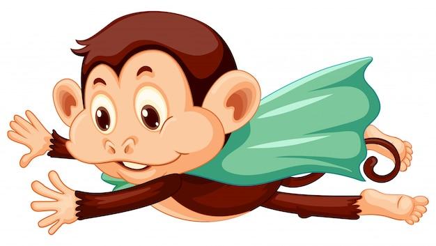 Macaco vestindo capa voando no fundo branco