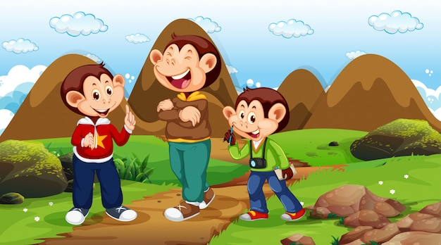 Macacos, andar, em, parque, cena