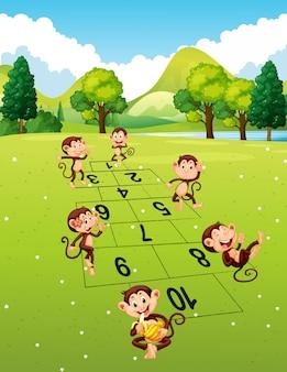 Macacos brincando de amarelinha no parque