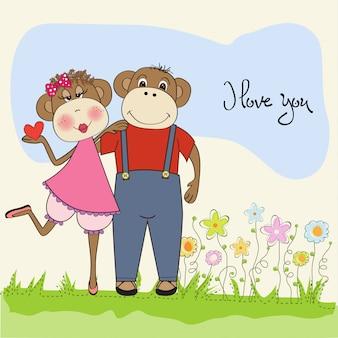 Macacos casal apaixonado