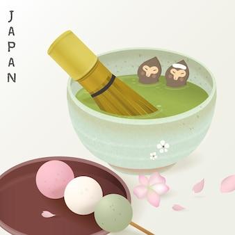 Macacos com conjunto adorável para cerimônia do chá desfrutam de banho quente de chá verde