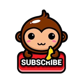 Macacos fofos com um botão de inscrição