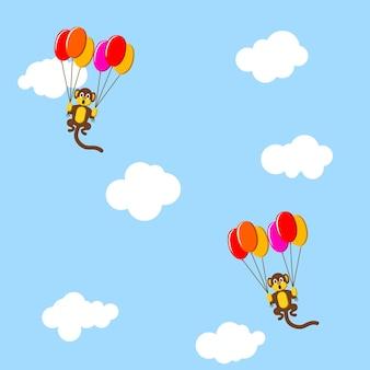Macacos no céu com bolhas