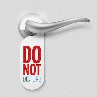 Maçaneta da porta de prata com etiqueta não perturbe