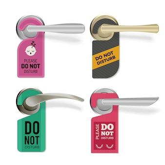 Maçaneta. não perturbe o conjunto de tags de sinais de quartos de hotel.