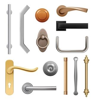 Maçanetas. 3d móveis modernos de madeira e metal itens interiores símbolos lida com vetor realista. ilustração da maçaneta da porta e suporte do elemento de mobília