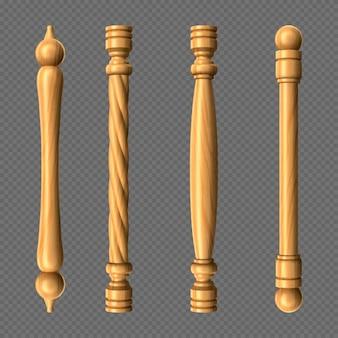 Maçanetas de madeira, colunas e formas de barras de maçanetas torcidas