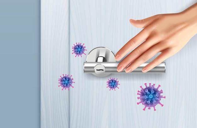 Maçanetas de porta controlam composição realista com mão humana tocando alça de metal e imagens de bactérias de vírus