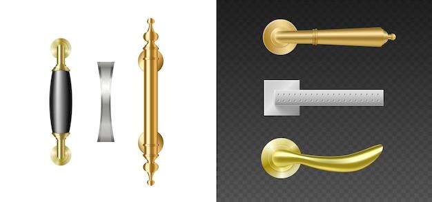 Maçanetas modernas. puxadores de metal prateado e dourado para portas abertas. elementos interiores 3d realistas isolados. ilustração vetorial