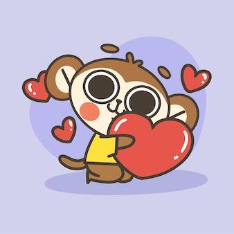 Macaquinho fofo abraçando ilustração de coração grande