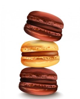 Macaron francês doces em estilo aquarela