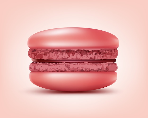 Macaron francês rosa vetor ou macaroon close-up vista frontal isolada no fundo