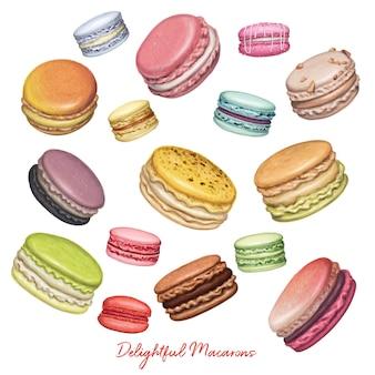 Macarons de voo mão ilustrações desenhadas