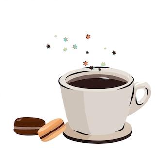 Macarons e café preto.