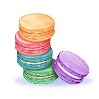 Macarons em aquarela fofos