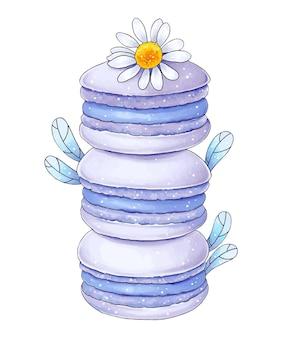 Macarons franceses com flores de camomila