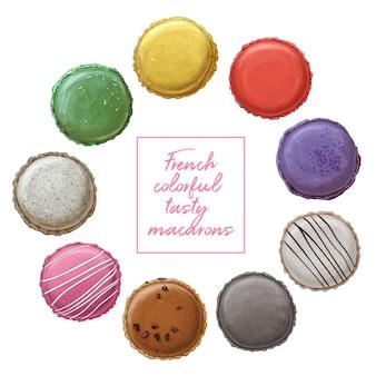 Macarons saborosos coloridos franceses