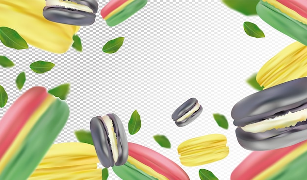 Macaroons coloridos realistas em fundo transparente. macaroons franceses em movimento com folhas verdes.