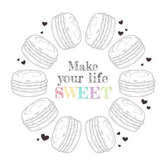 Macaroons de sobremesa francês de ilustração de mão desenhada