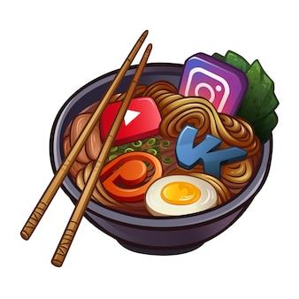 Macarrão chinês com ícones de redes sociais populares