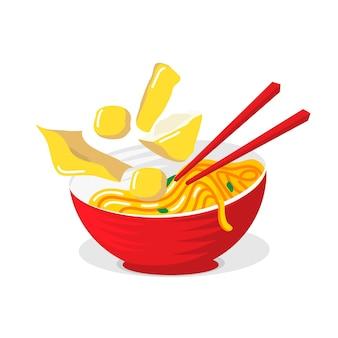 Macarrão de comida asiática ilustrada na tigela vermelha com pauzinhos