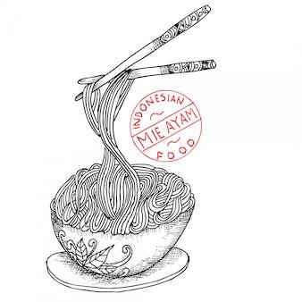 Macarrão de frango, comida indonésia, doodle