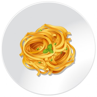 Macarrão e vegetais no prato