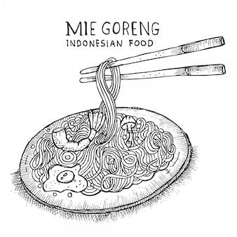 Macarrão frito, comida indonésia, menu de doodle
