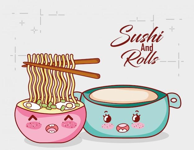 Macarrão kawaii em sopa e maconha comida japonesa cartoon, sushi e rolos