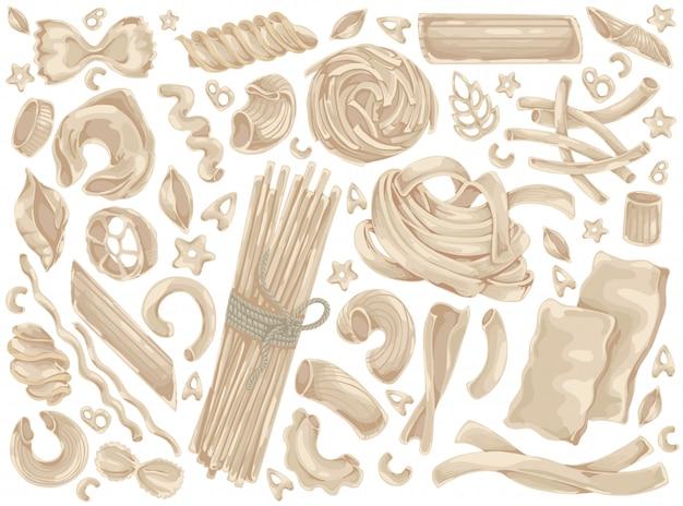 Macarrão, macarrão, espaguete, comida doodle conjunto