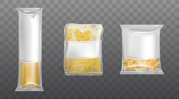 Macarrão no pacote límpido conjunto espaguete de macarrão seco