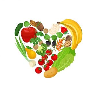 Maçãs, bananas, tomates, batatas, alho, pepino e nozes são dispostas em forma de coração.