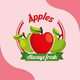 Maçãs de fruta sempre fresco emblema