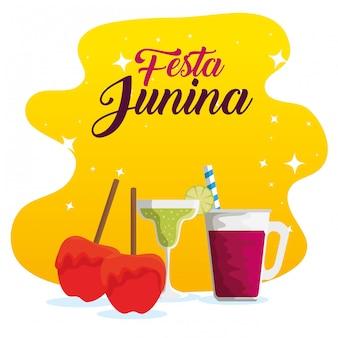 Maçãs doces com cocktails para festa junina