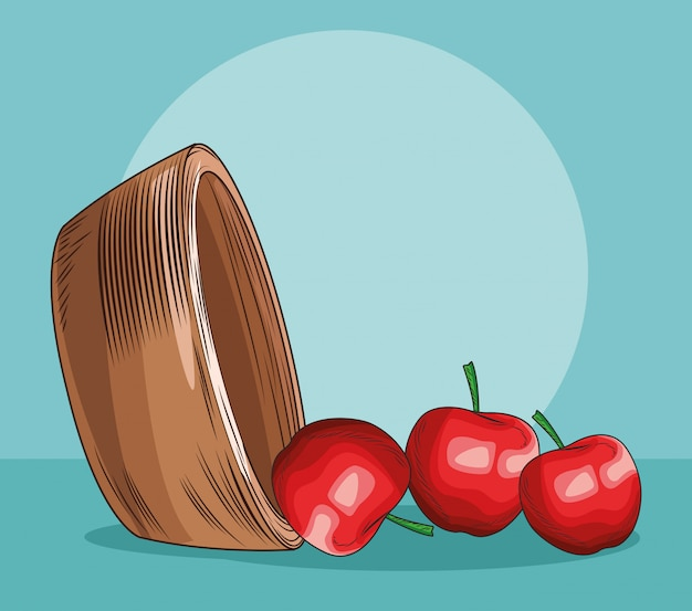Maçãs espalhadas de cesta de frutas frescas