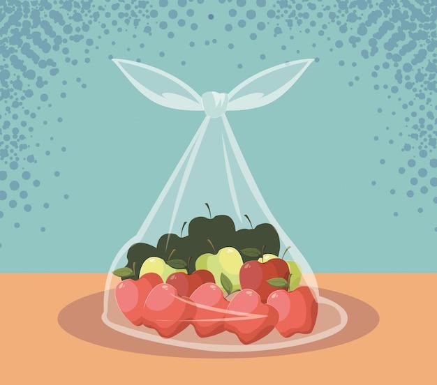 Maçãs frescas frutas em saco plástico