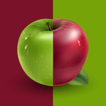 Maçãs verdes e vermelhas