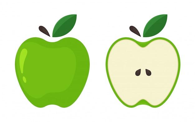 Maçãs verdes que são divididas ao meio do fundo branco.