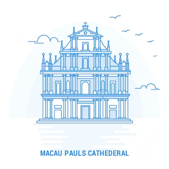 Macau pauls cathederal blue landmark