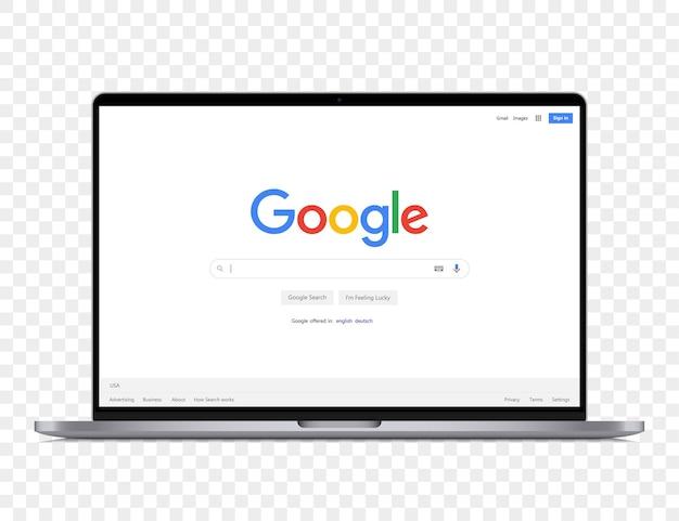 Macbook pro com maquete da janela de pesquisa do google. ilustração vetorial eps10