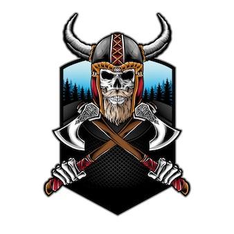 Machado de exploração de caveira viking