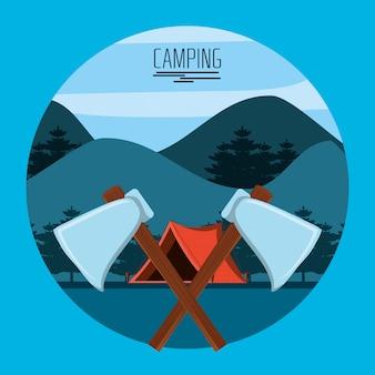 Machados cruzados com zona de camping com barraca