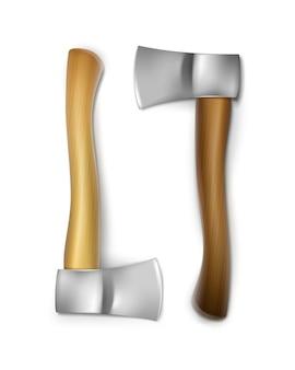 Machados de ferro vetoriais com alças de madeira em marrom e ocre, vista frontal isolada no fundo branco