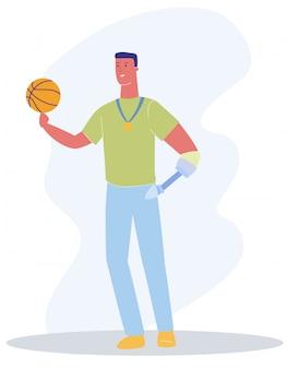 Macho com braço de prótese com jogo de basquete de bola