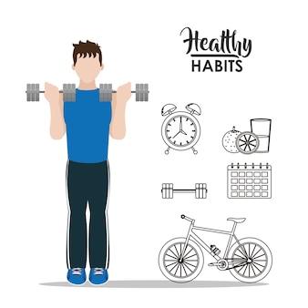 Macho com conceito de desenho animado de hábitos saudáveis
