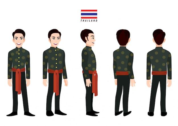 Macho da tailândia em traje tradicional para animação. frente, lateral, traseira, 3-4 caracteres de visualização. personagem de desenho animado plana