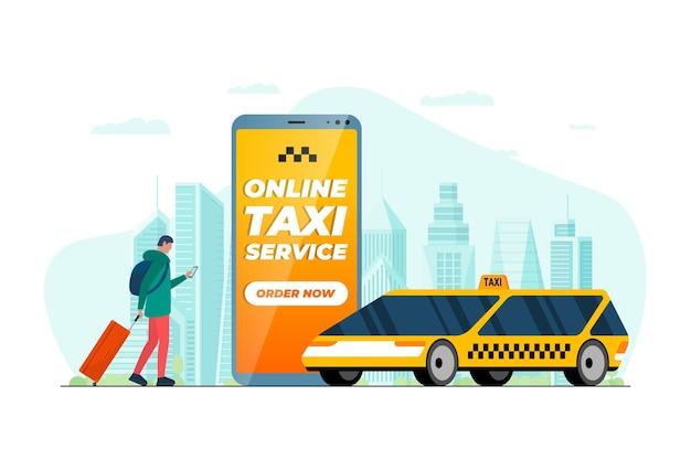 Macho de conceito de serviço de pedido de táxi com mala de viagem segurando um telefone inteligente com aplicativo de pedido e