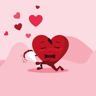 Macho de coração bonito com caráter de buquê de rosas