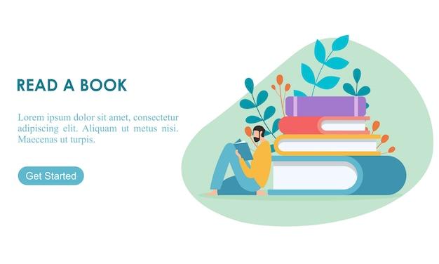 Macho desfrutando seu hobby ler uma ilustração em vetor design plano livro