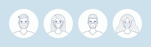 Macho e fêmea na máscara de proteção de rosto médica. avatares de pessoas